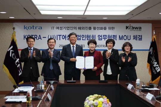 KOTRA, IT여성기업인협회와 수출지원 MOU 체결